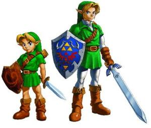 A picture of young Link and adult Link from Zelda Ocarina of Time