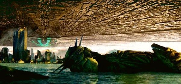 The Statue of Liberty lies face down in the ocean after the alien attack.