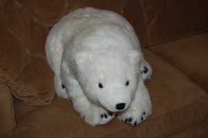 The polar bear on the couch