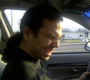 James laughing in the car