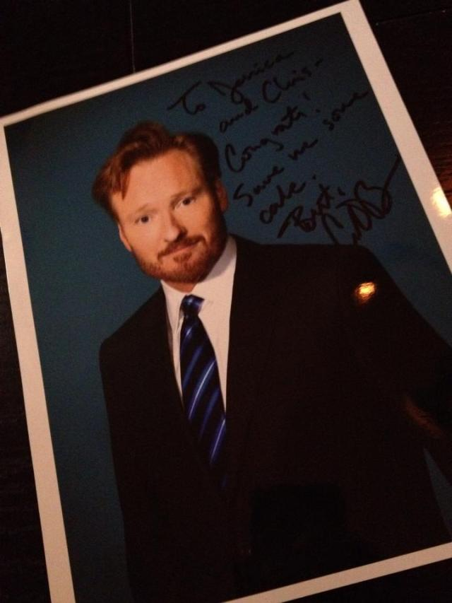 Autographed picture of Conan O'Brien with a custom message