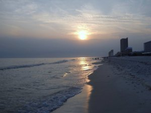 The sunset and beach in Panama City, FL