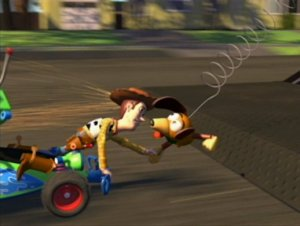 Slinky Dog helping Woody and Buzz
