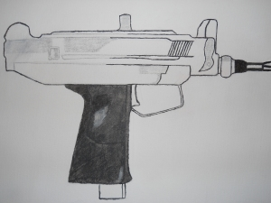 Started pencil sketch of Uzi