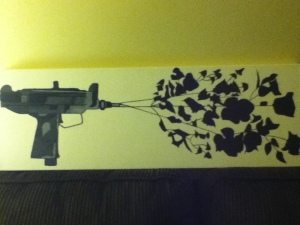 Completed uzi flower painting