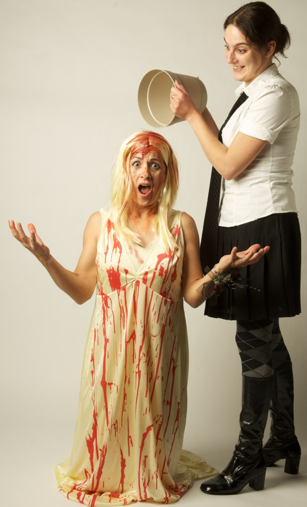 2009: Same year. My awesome co-worker came as Carrie, and we took some fun pics for our photographer. We didn't plan the costumes, which was even better because we paired up and tied for best team costume that year.