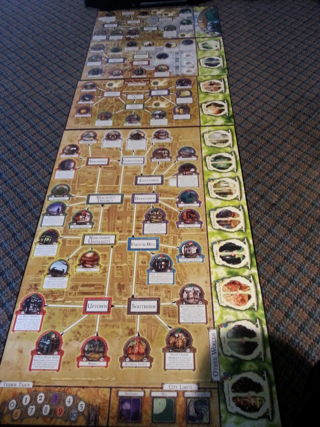 For fun and to show how big this game can get... This is Arkham Horror with the three expansion boards in place.  It's as long as my couch.